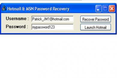 Screenshot Hotmail & MSN Password Recovery